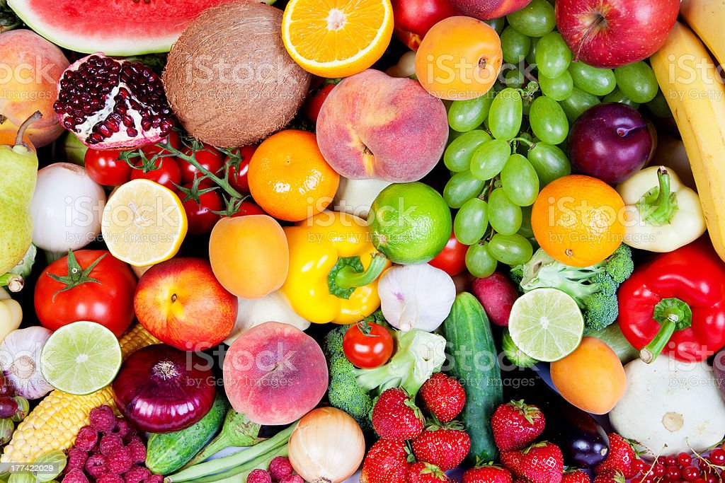 group of vegetables and fruits stock photo