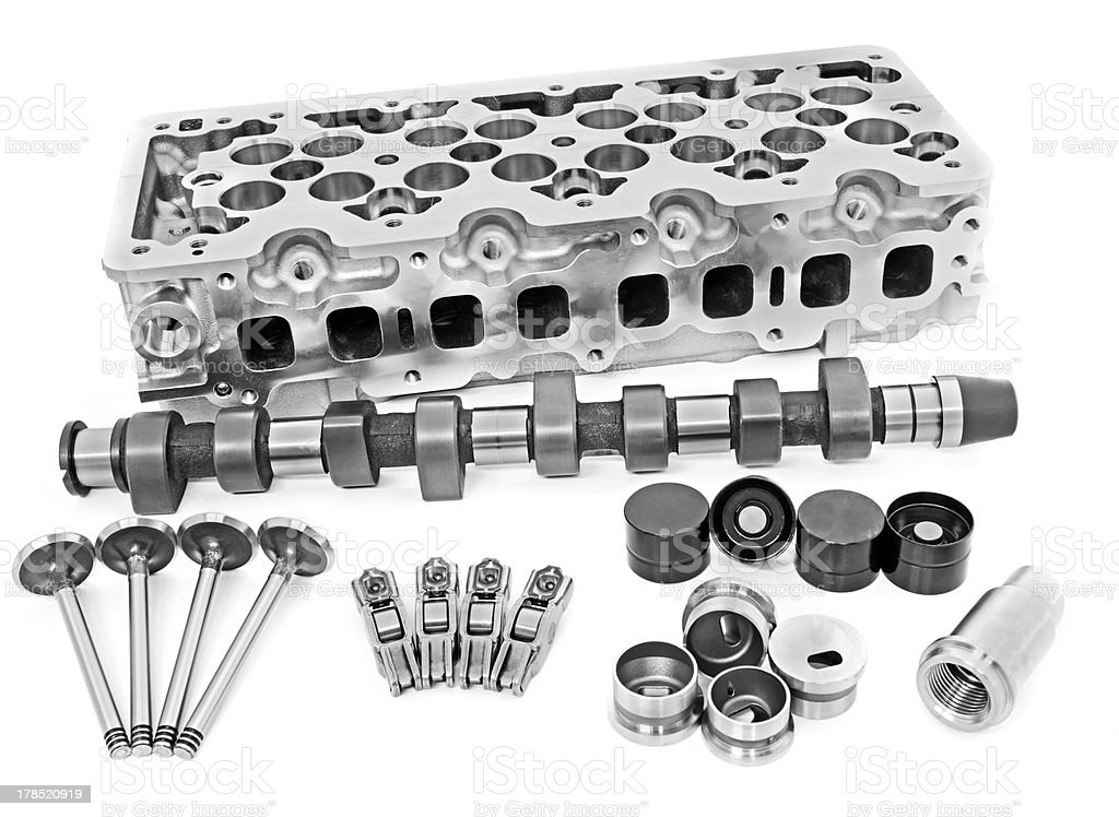 group of vehicle engine spare parts stock photo