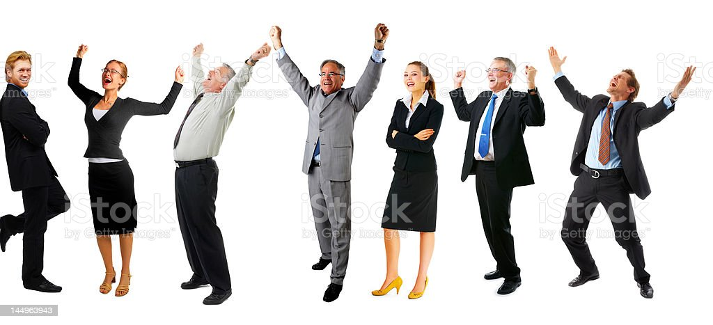 Group of very happy business people stock photo