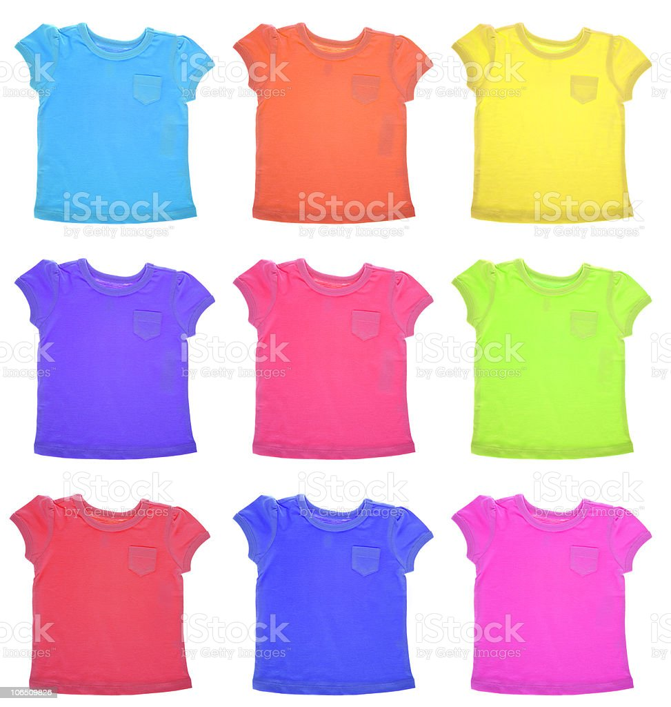 Group of Vibrant Tee Shirts Pattern stock photo