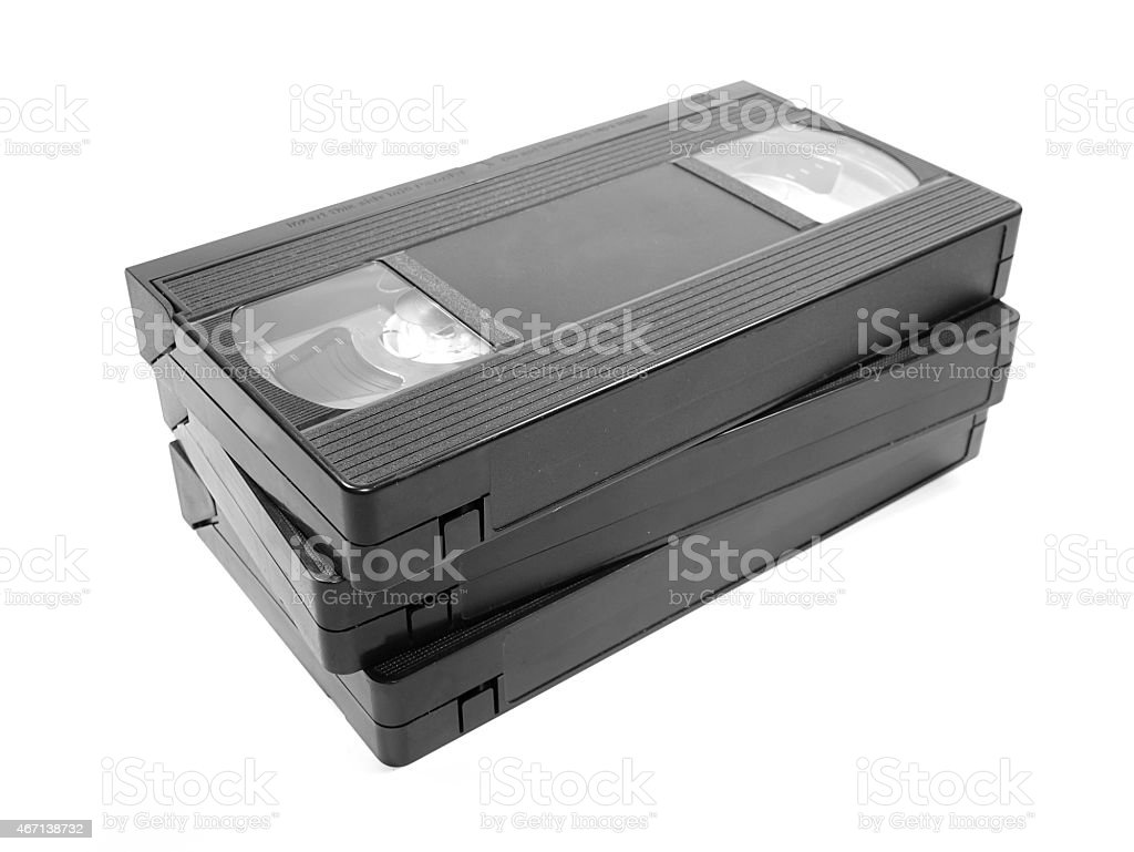 Group of Video Tapes isolated on white background stock photo