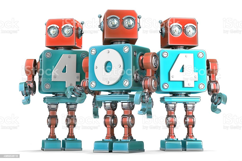 Group of vintage robots with 404 sign. Isolated .Clipping path stock photo