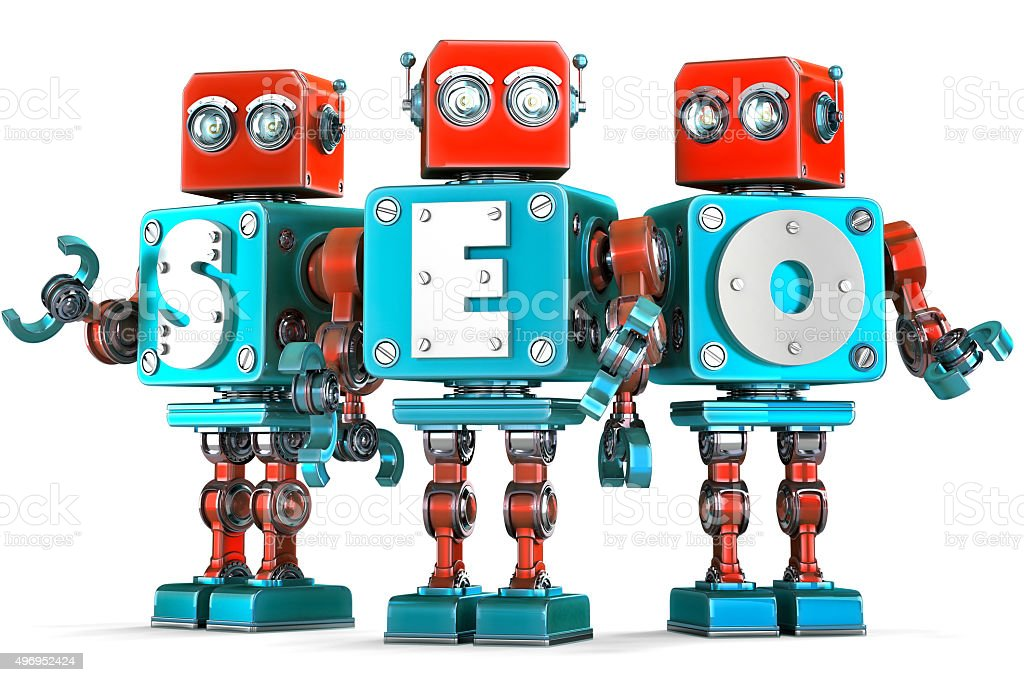 Group of vintage robots with SEO sign. Isolated. Clipping path stock photo