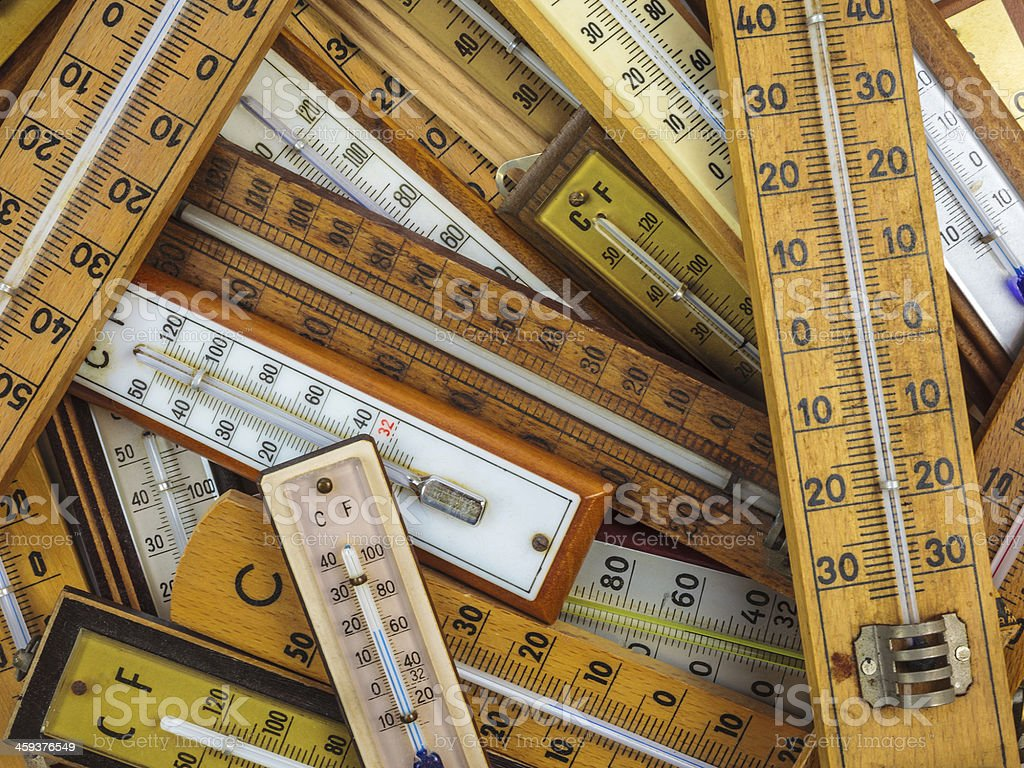 Group of vintage thermometers stock photo