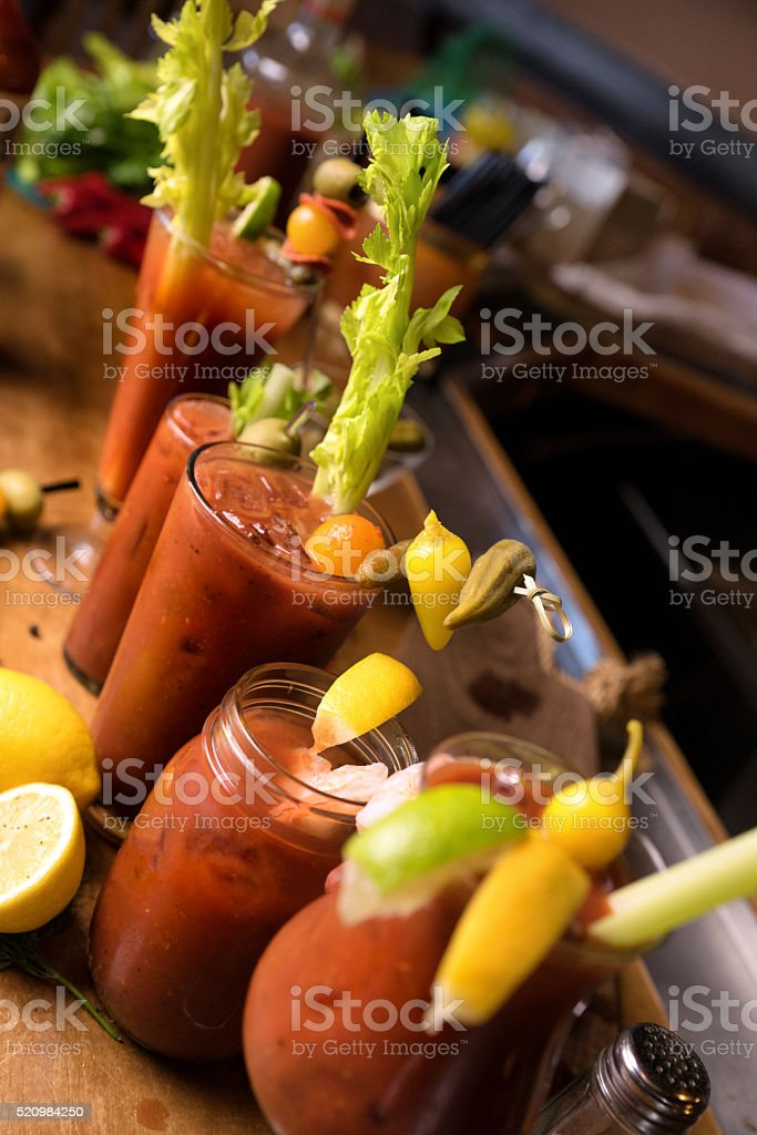 Group of Vodka Bloody Marys stock photo