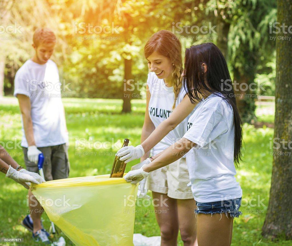 Group of volunteers picking garbage stock photo