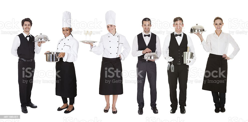 Group Of Waiter And Waitress stock photo