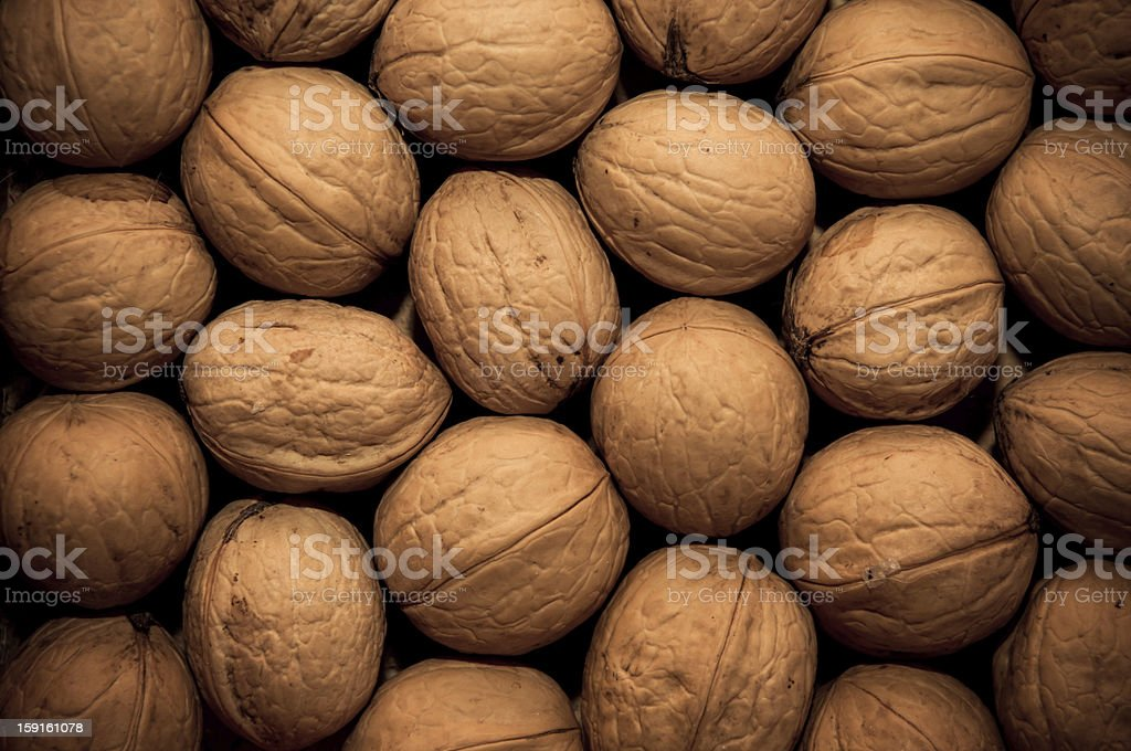 group of walnuts as background royalty-free stock photo