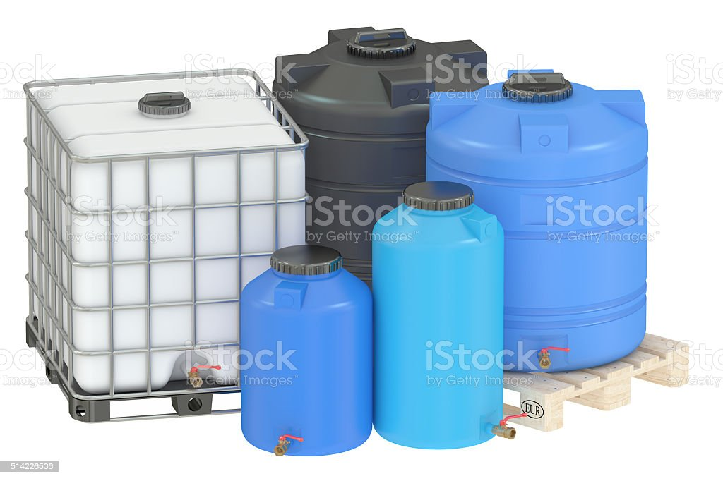 group of water tanks stock photo