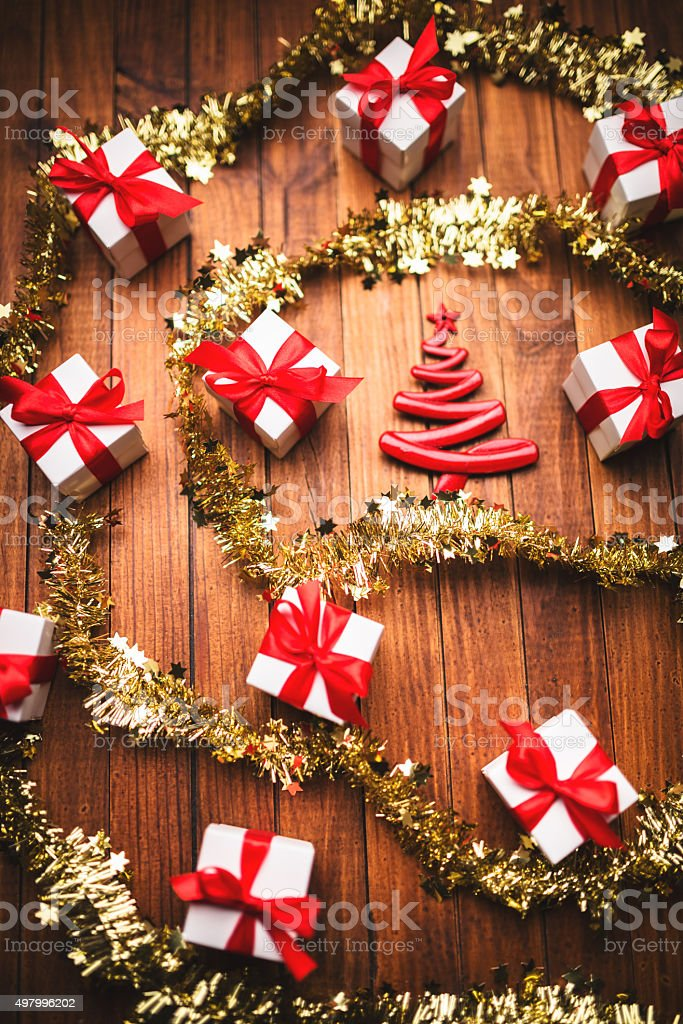 group of white christmas gift on plank wood stock photo