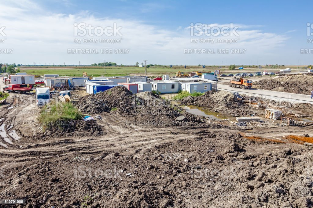 Group of white container office is placed at construction site stock photo
