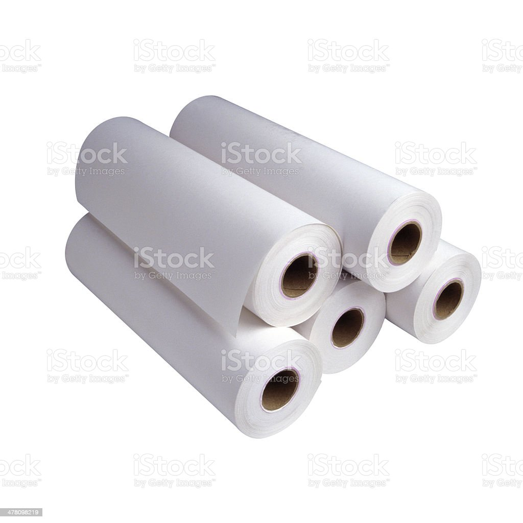 Group of white paper rolls stock photo