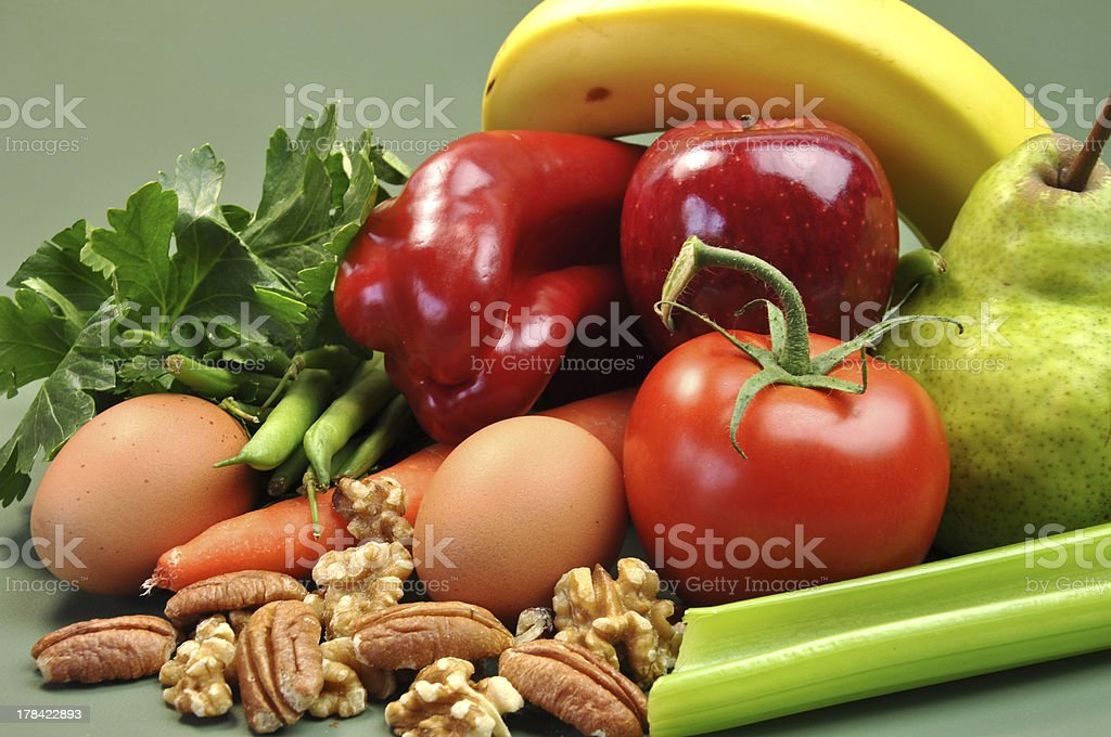 Group of wholesome organic food. stock photo