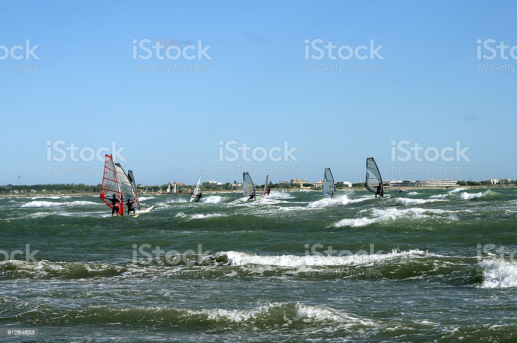Group of Wind Surfers royalty-free stock photo