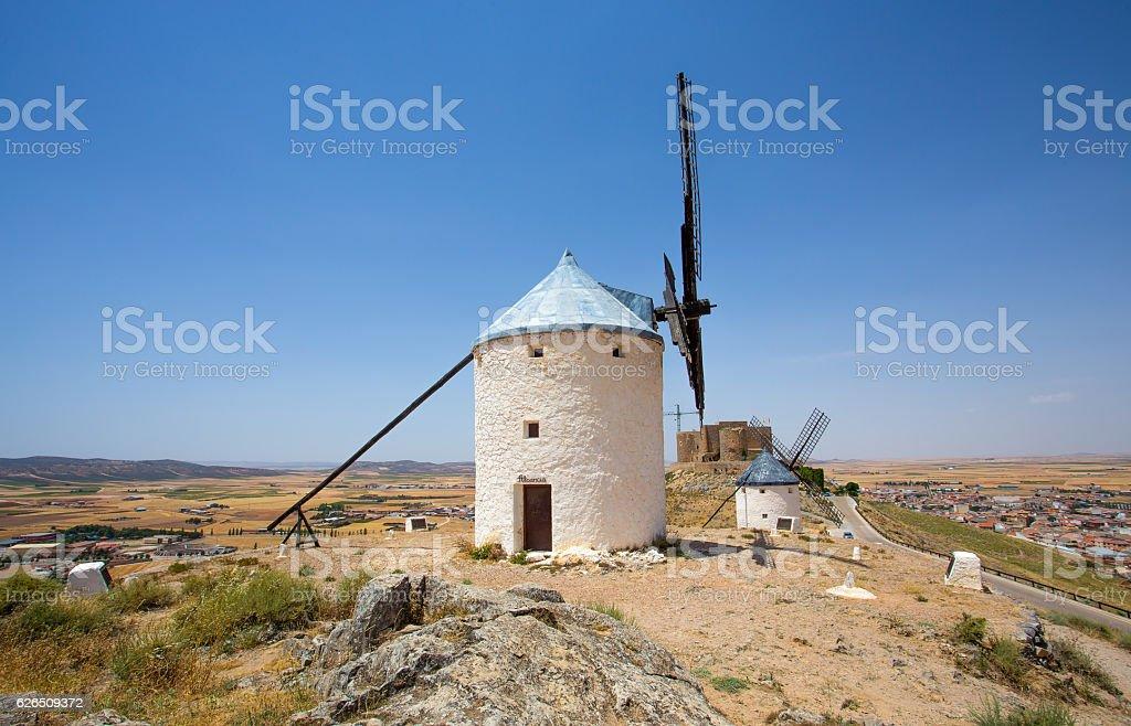 Group of windmills in Campo de Criptana,  Consuegra, Spain stock photo