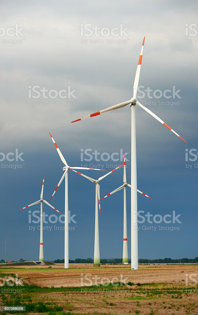 group of windmills stock photo