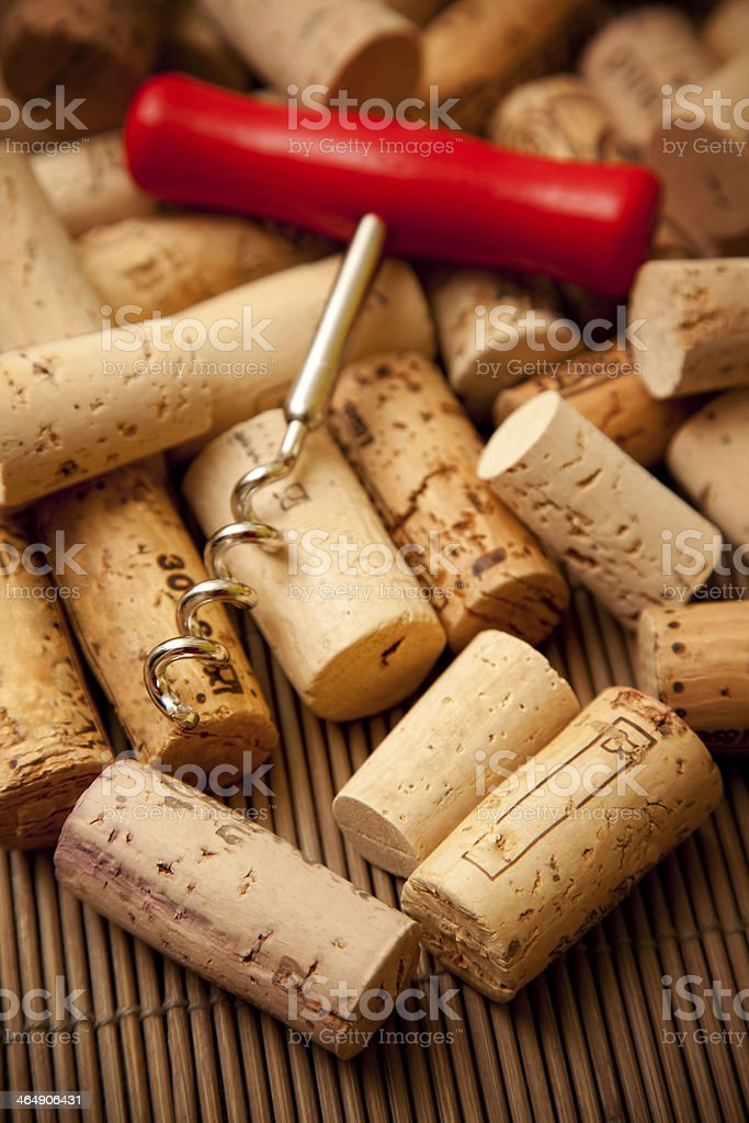 group of wine corks with bottle opener stock photo