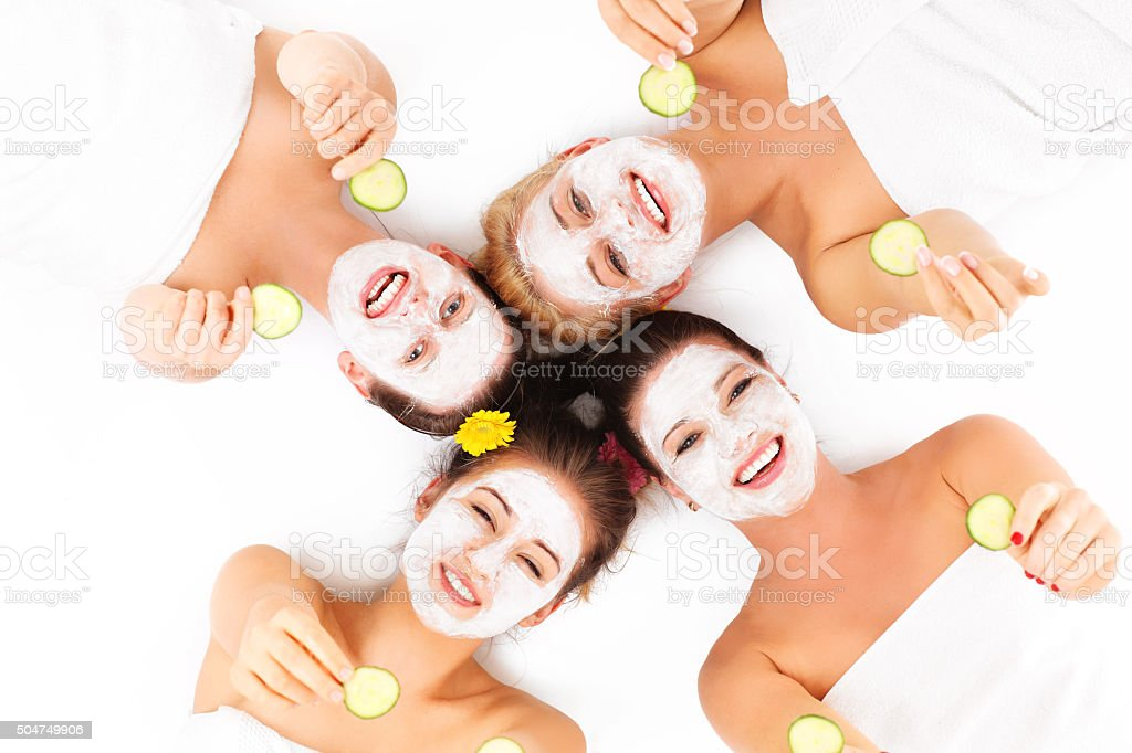 Group of womans in spa stock photo