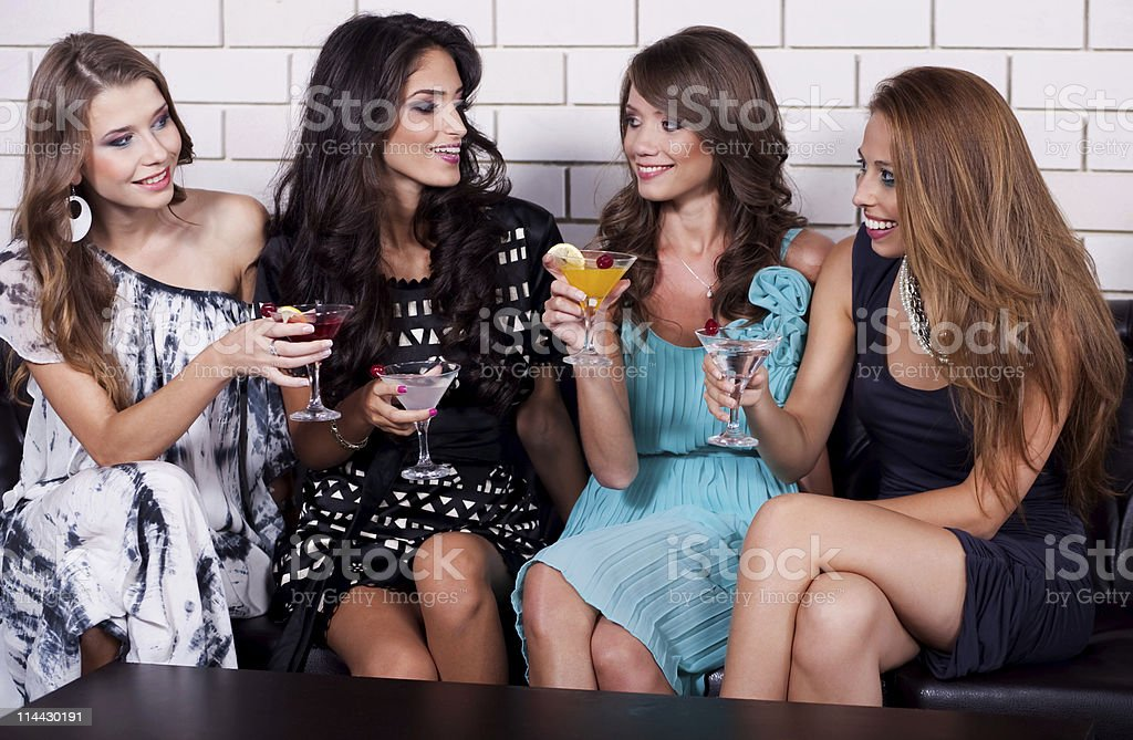 Group of women at cocktail party royalty-free stock photo
