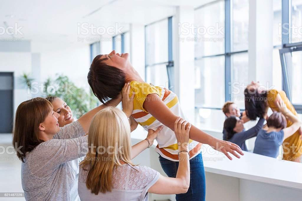 Group of women at the team building training stock photo