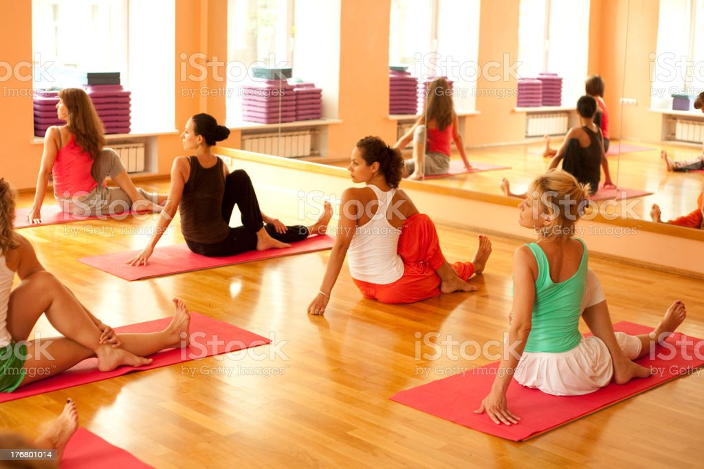 Group of women at yoga class stock photo