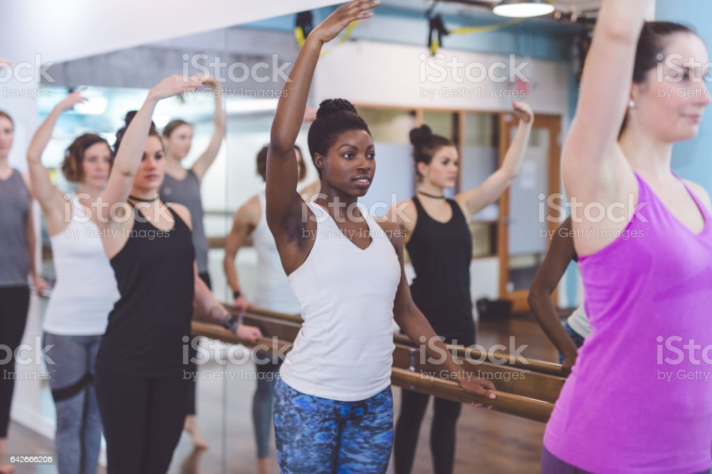 Group of Women Doing Barre + TRX Workout stock photo