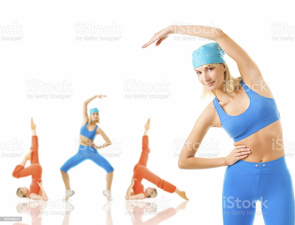 Group of women doing fitness exercise royalty-free stock photo