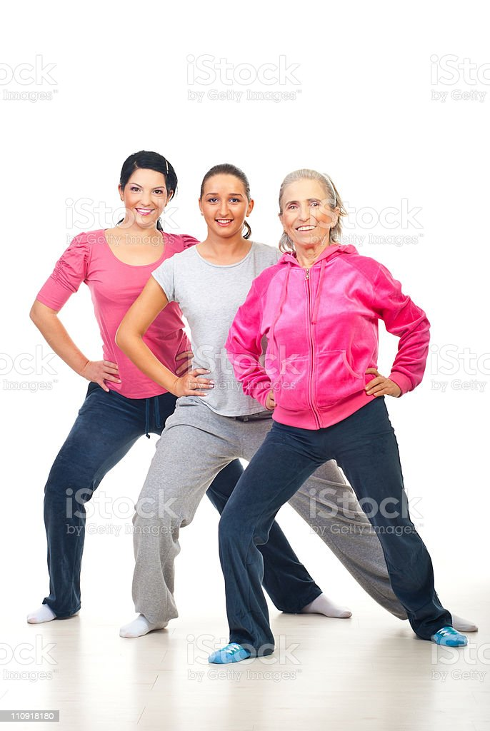 Group of women doing fitness royalty-free stock photo