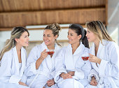 Group of women gossiping at the spa