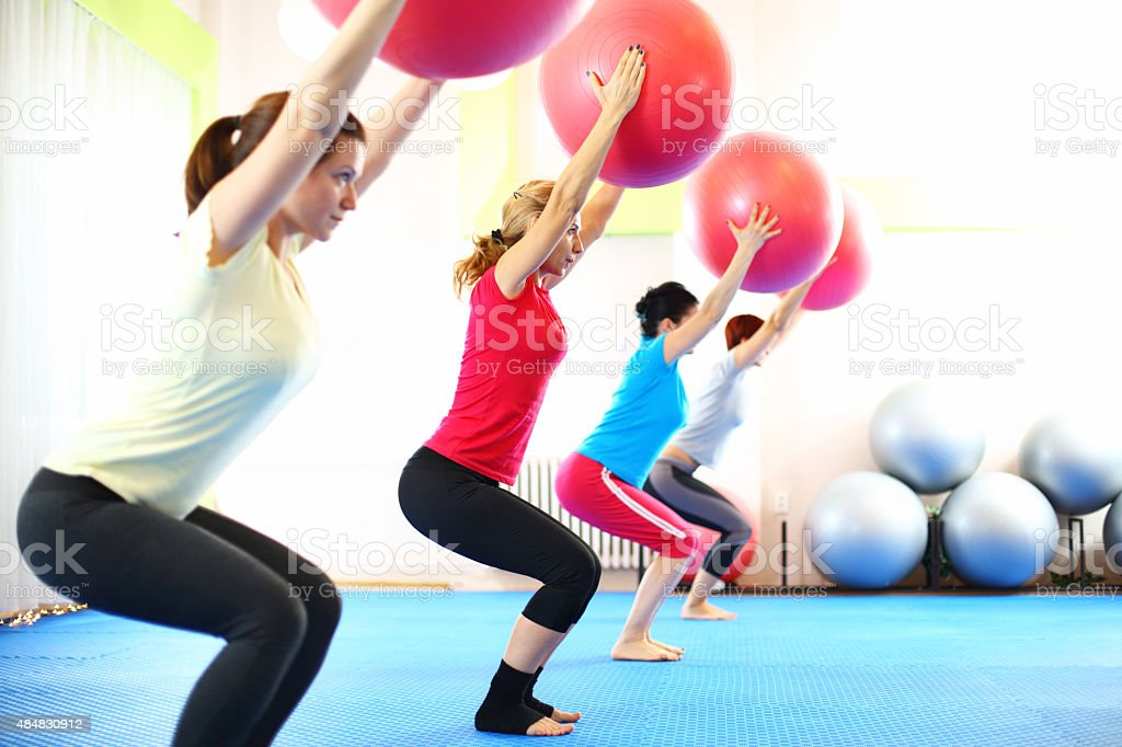 Group of women in Pilates class. stock photo