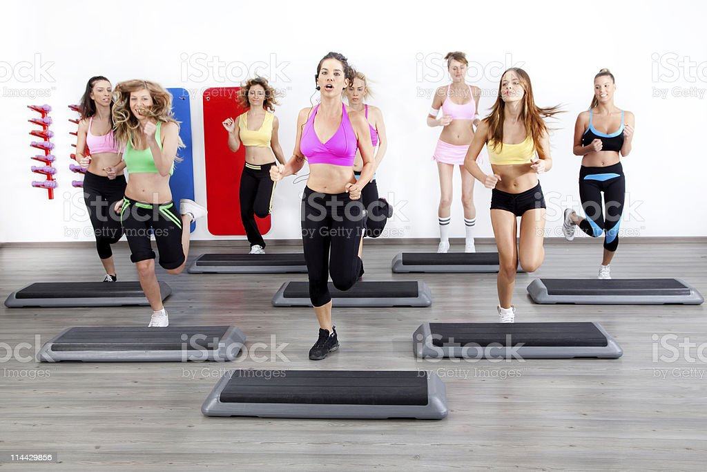 group of women on steppers stock photo