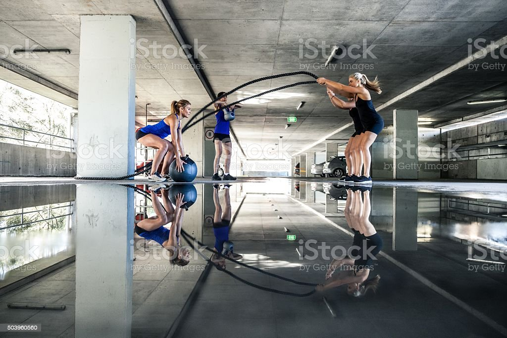 Group of women training on rope and boxing stock photo
