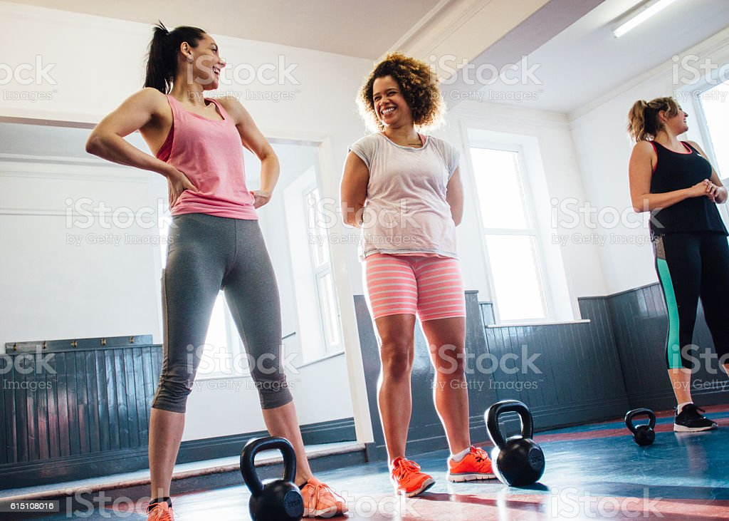 Group of Women Training with Kettle Bells stock photo