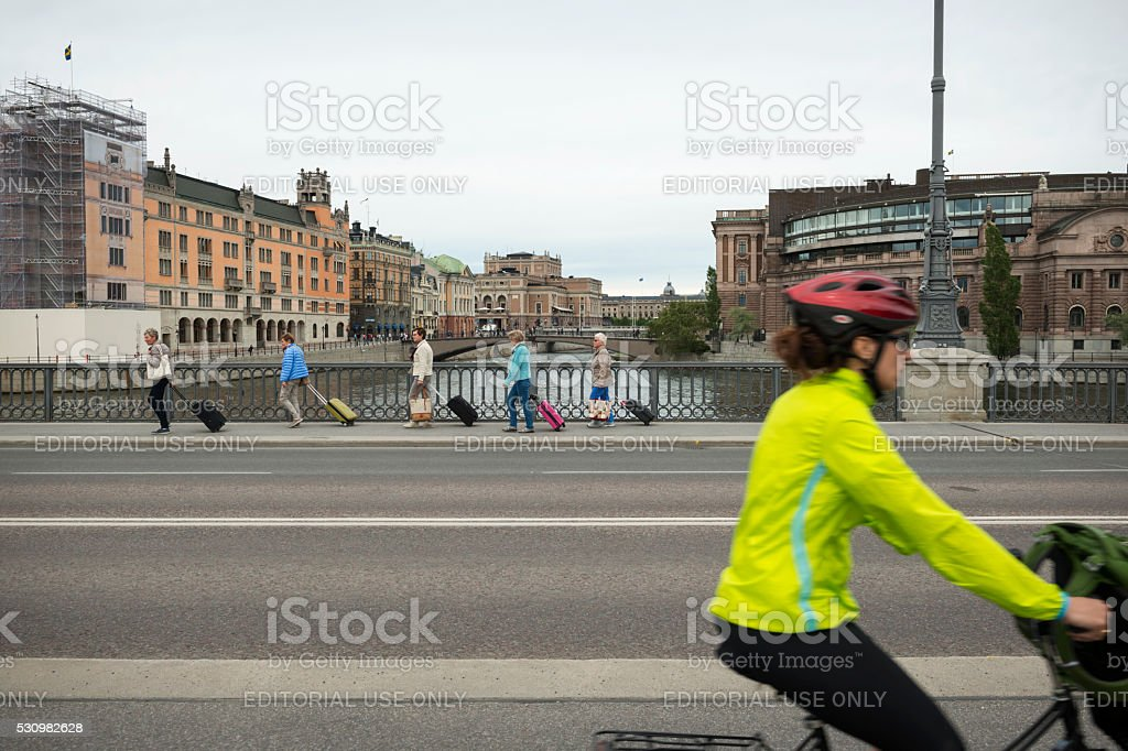 Group of women with luggage in Stockholm, Sweden stock photo