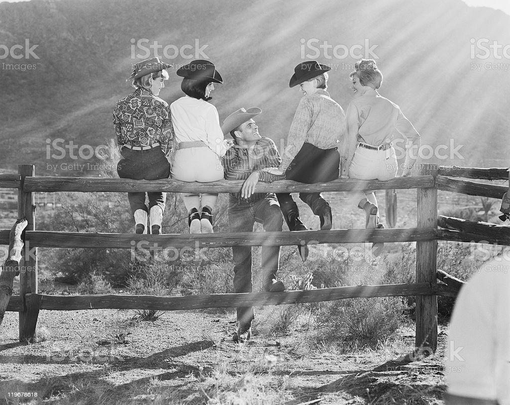 Group of women with man sitting on fence, smiling royalty-free stock photo
