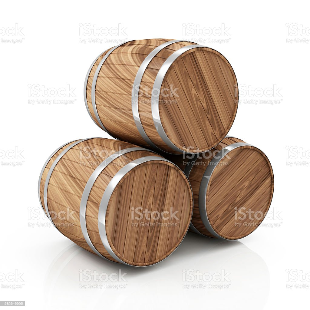 Group of Wooden Barrels isolated on white background stock photo