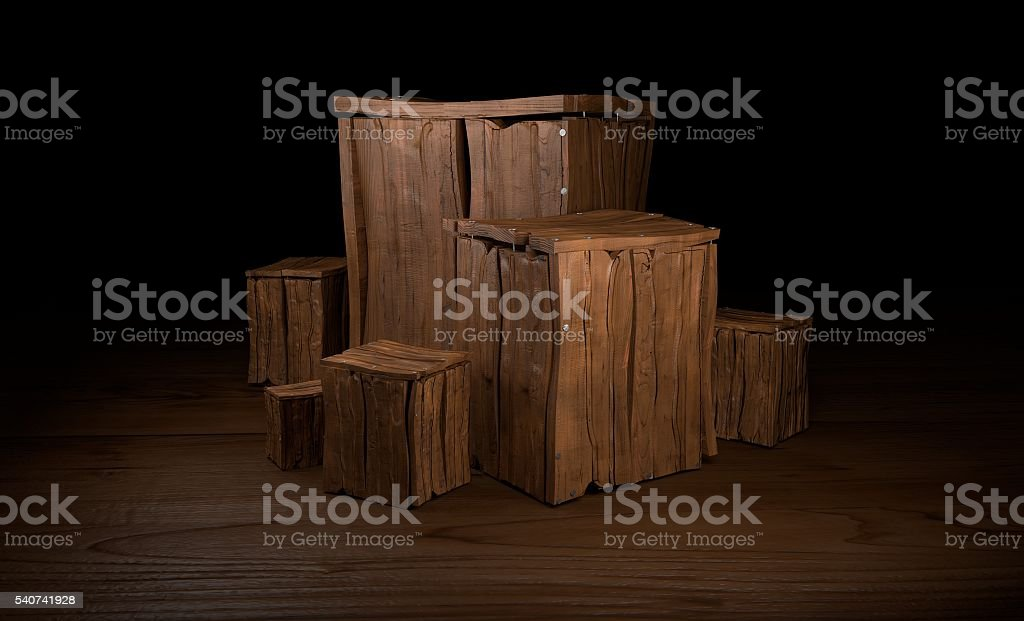 Group of wooden boxes 3d illustration stock photo
