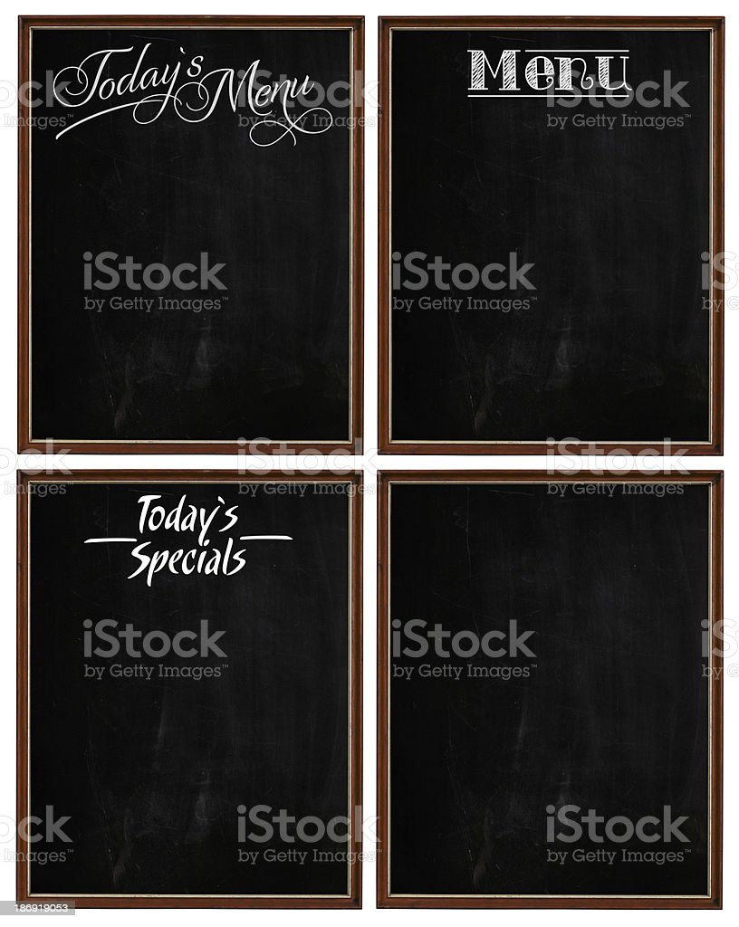 Group of Wooden Picture Frames Chalkboard Blackboard Copy Space royalty-free stock photo