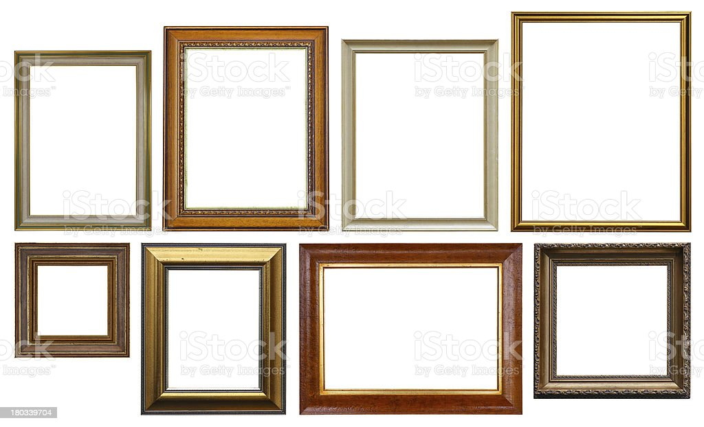 Group of Wooden Picture Frames Isolated On White royalty-free stock photo