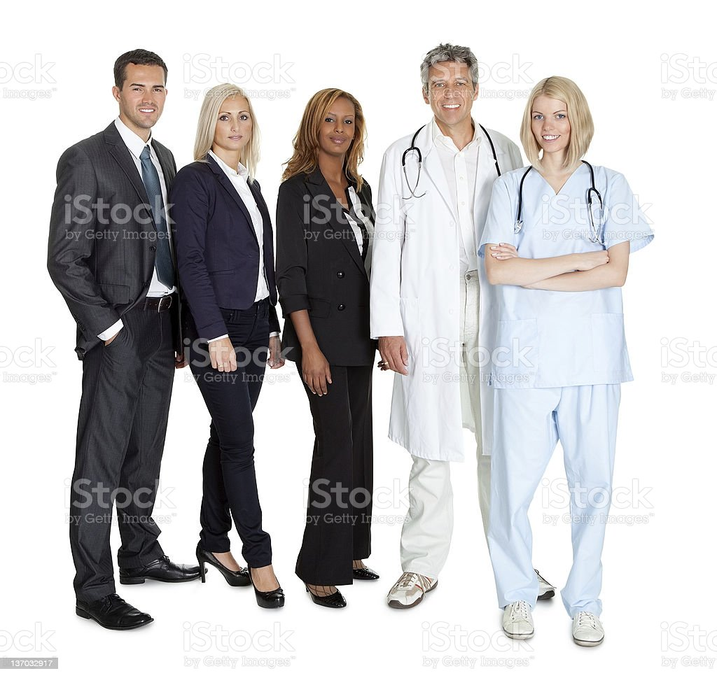 Group of workers on white background royalty-free stock photo