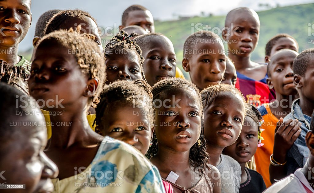 Group of worried young African children stock photo