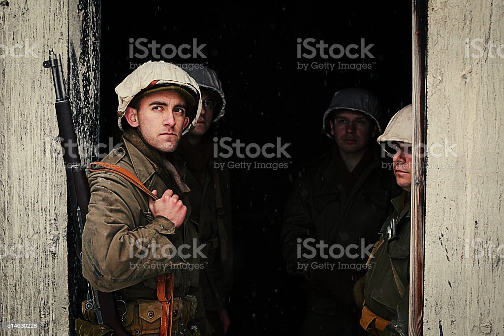 Group of WWII Winter Soldiers stock photo