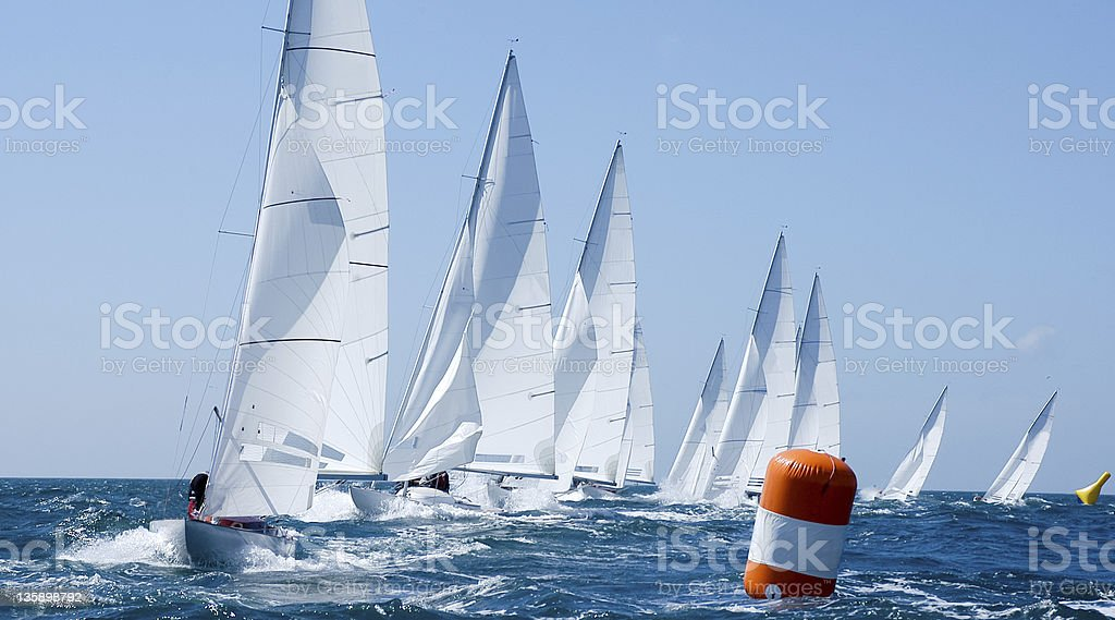 group of yacht in regatta stock photo
