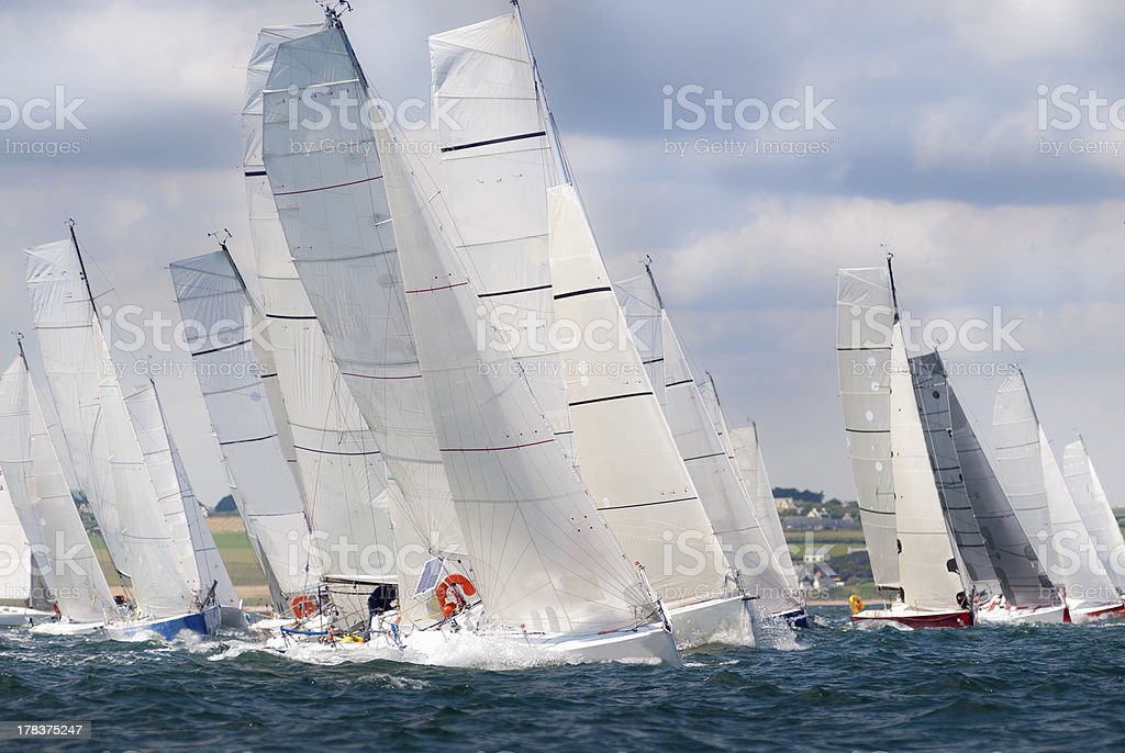 group of yacht sailing at regatta stock photo