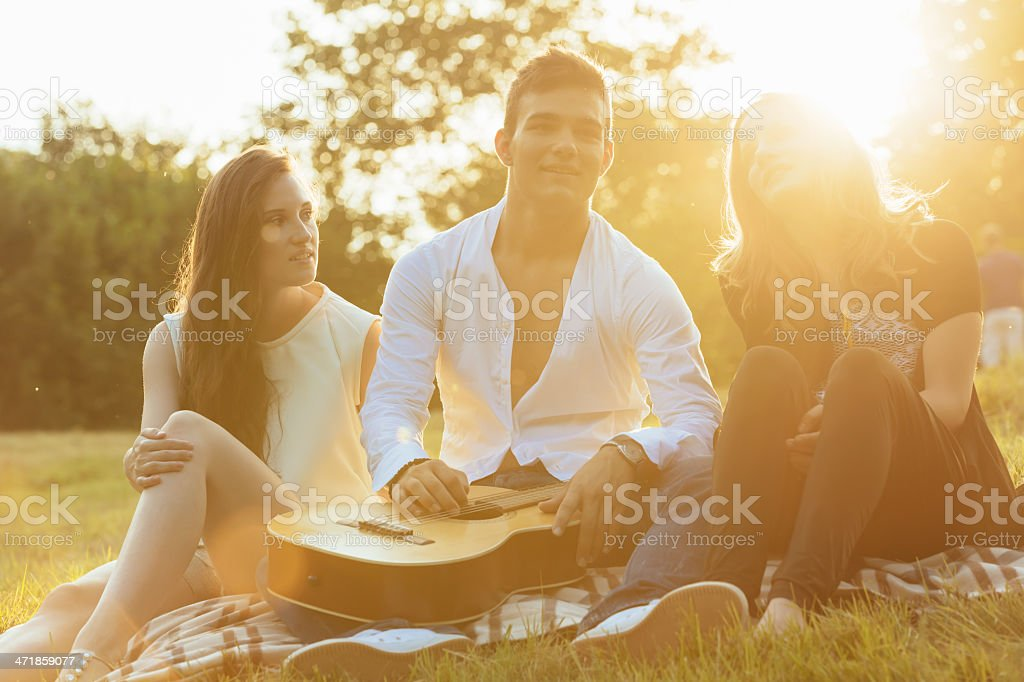 Group of Young Adults Enjoying Summer Sunset royalty-free stock photo