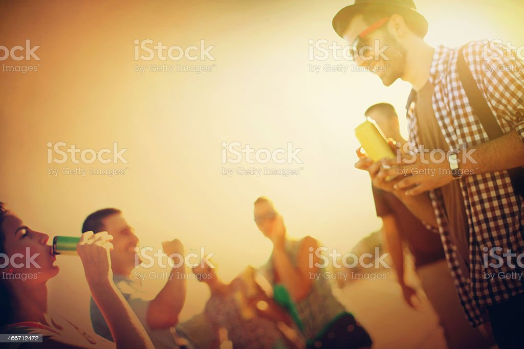 Group of young adults having fun. stock photo