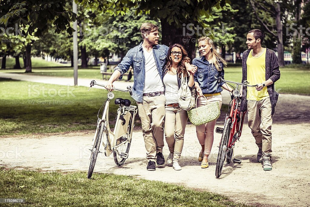 Group of Young Adults Together at the Park royalty-free stock photo