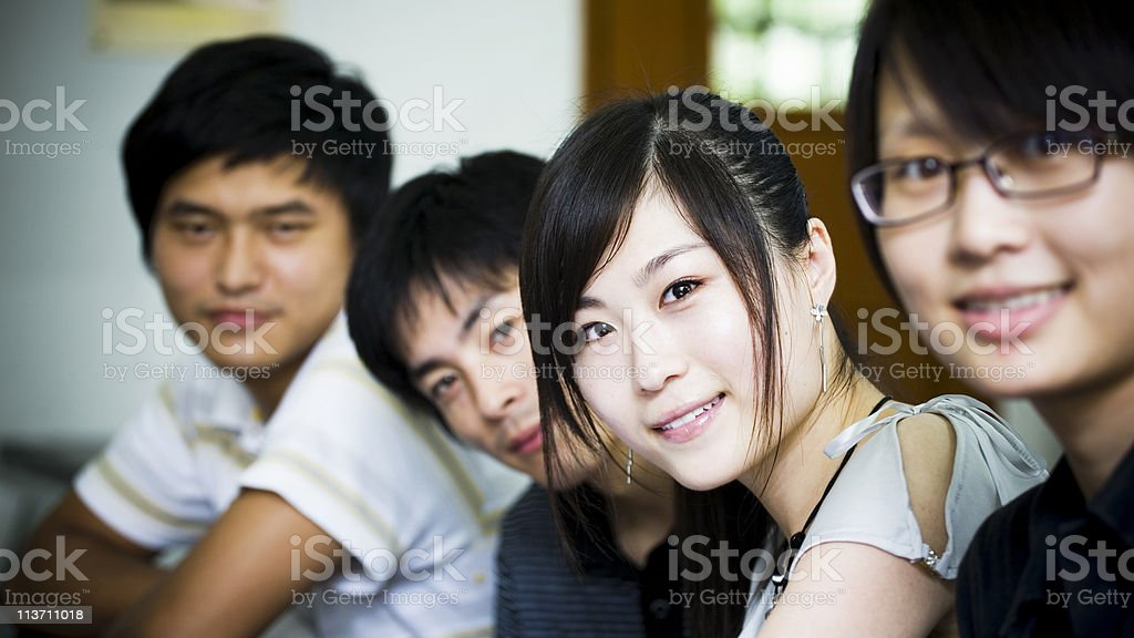 Group of young Asian people smiling stock photo