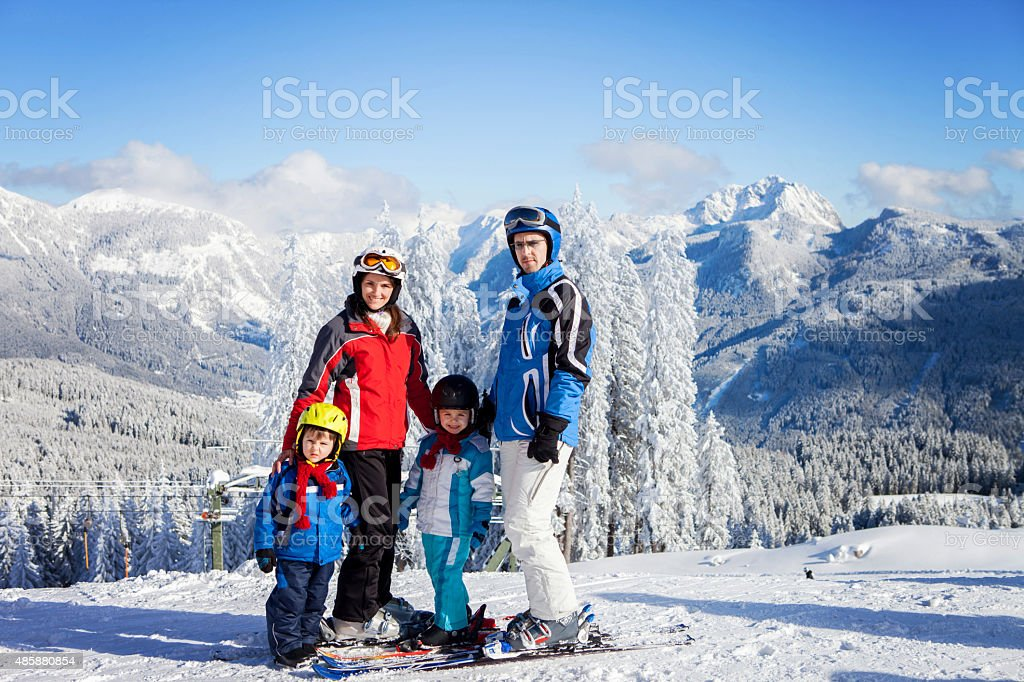 Group of young beautiful people, adults and kids, skiing stock photo