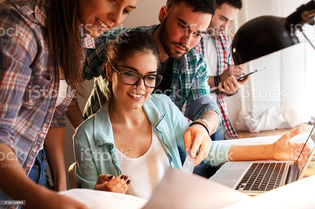 Group of young business people and designers. stock photo